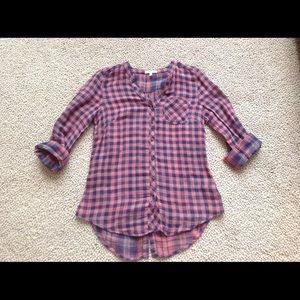 Buffalo Check Button Back Blouse